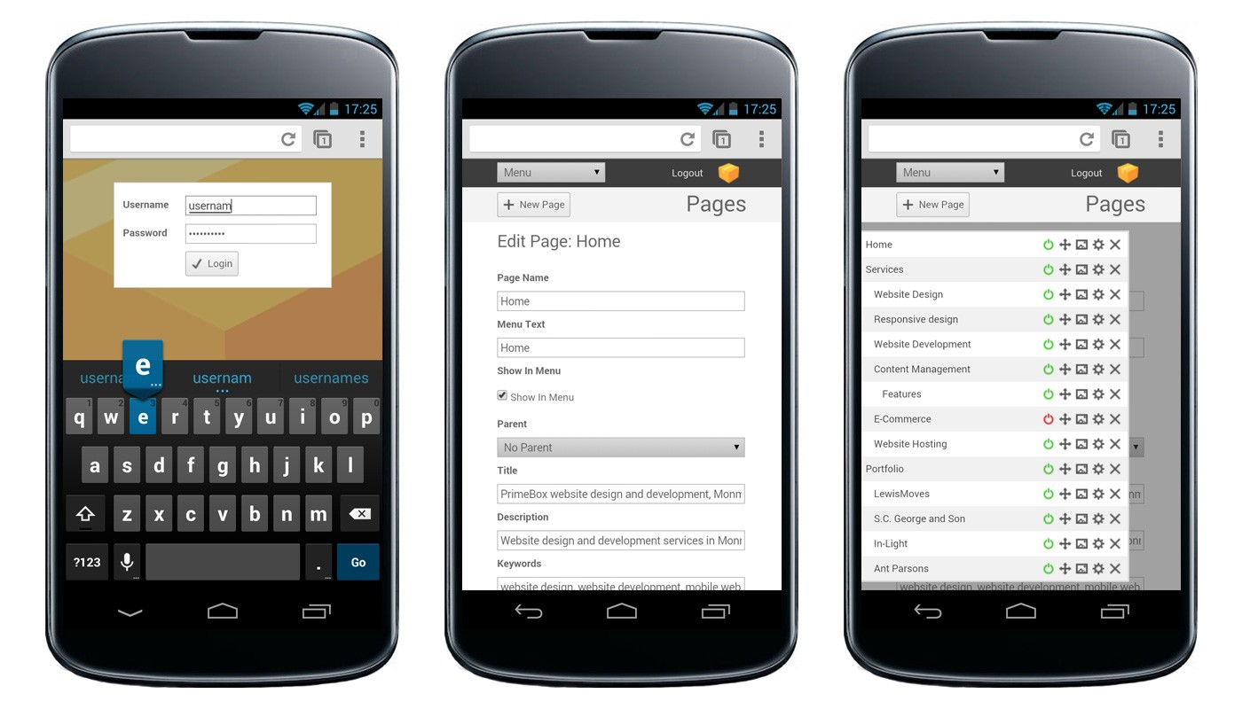 Primebox CMS has a responsive design for mobile support