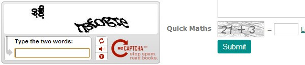 The difference between Google reCaptcha and Primebox Quick Maths
