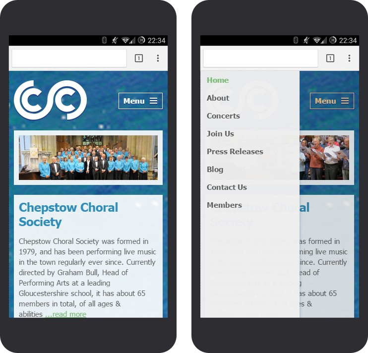 Chepstow Choral Society mobile website