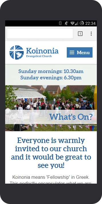 Koinonia Evangelical Church mobile-friendly website