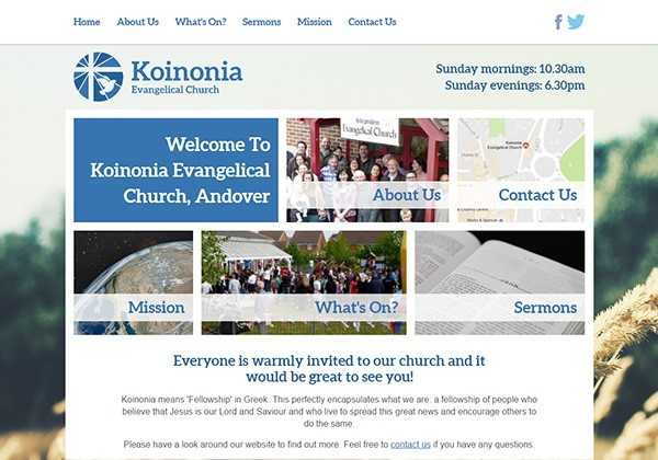 Koinonia Evangelical Church website thumbnail
