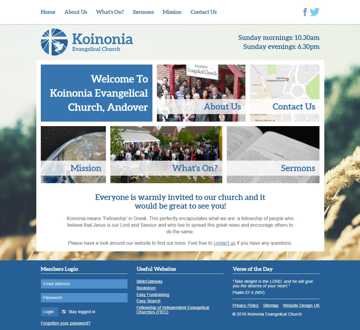 Koinonia Evangelical Church website