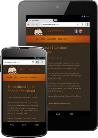 Mobile versions of antparsons.co.uk